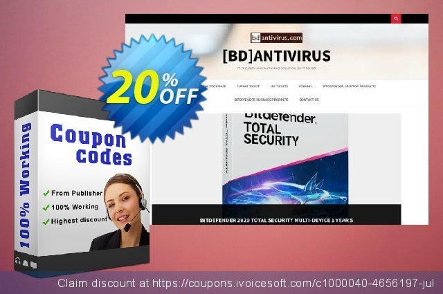 Get 20% OFF BullGuard 2018 Antivirus - 1 year / 1 PC offering sales