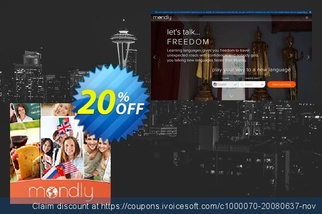 Mondly Premium 33 Languages - Annual Subscription discount 91% OFF, 2019 Back to School coupons offering sales