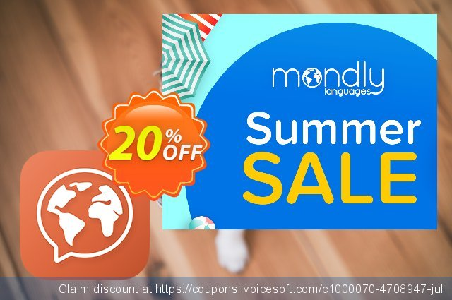 Mondly Premium 1 Language - Monthly Subscription discount 20% OFF, 2020 College Student deals offering sales