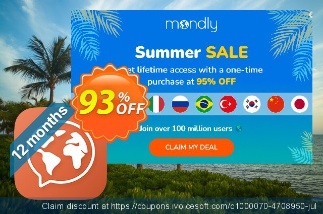 [20% OFF] Mondly Premium 33 Languages - Annual Subscription Coupon code on  Summer offering sales, June 2019