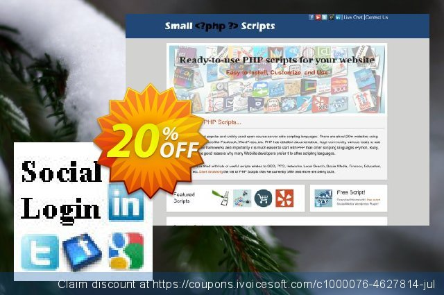 Social Login Script discount 10% OFF, 2019 Christmas Day promo sales