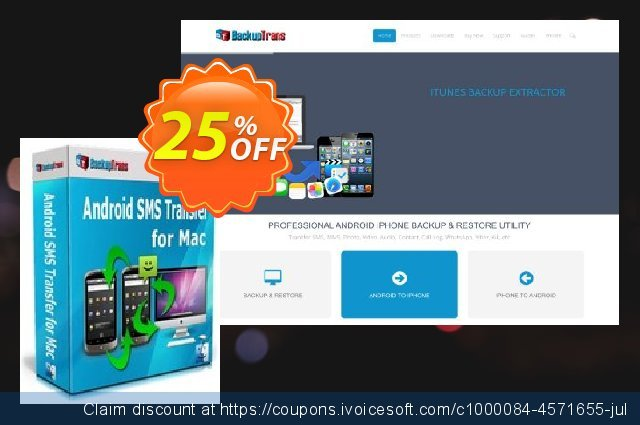 Backuptrans Android SMS Transfer for Mac discount 15% OFF, 2020 Black Friday discounts