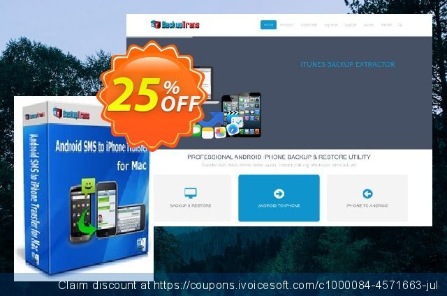 Backuptrans Android SMS to iPhone Transfer for Mac discount 10% OFF, 2020 Back to School event discount