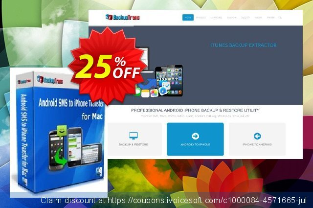 Backuptrans Android SMS to iPhone Transfer for Mac (Business Edition) discount 15% OFF, 2020 Halloween promo sales