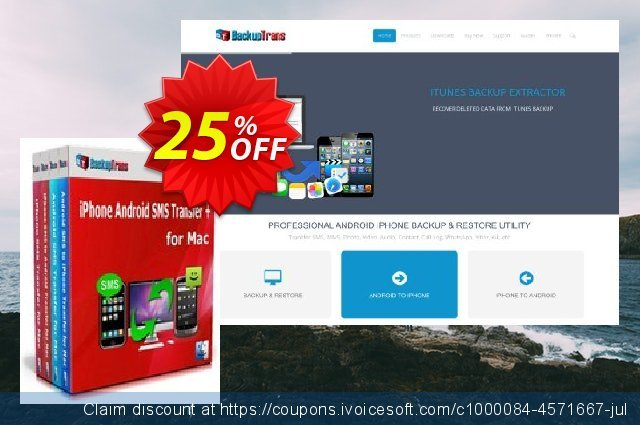 Backuptrans iPhone Android SMS Transfer + for Mac discount 15% OFF, 2021 Mother's Day offering discount. Holiday Deals