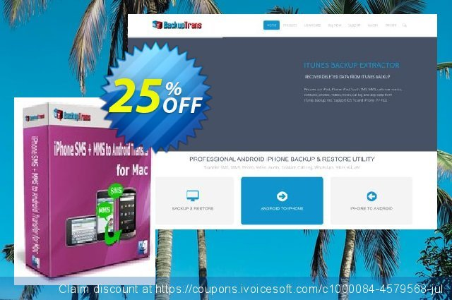 Backuptrans iPhone SMS + MMS to Android Transfer for Mac (Family Edition) discount 15% OFF, 2020 Halloween offering deals