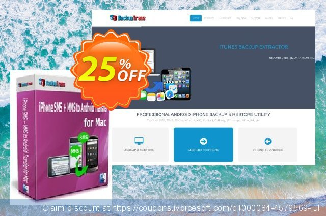 Backuptrans iPhone SMS + MMS to Android Transfer for Mac (Business Edition) discount 15% OFF, 2020 Halloween promo sales