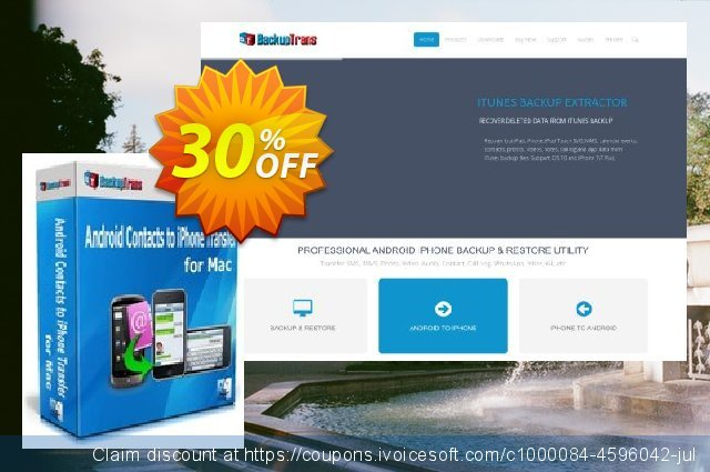 Backuptrans Android Contacts to iPhone Transfer for Mac discount 30% OFF, 2021 Working Day offer. Backuptrans Android Contacts to iPhone Transfer for Mac (Personal Edition) stunning promotions code 2021