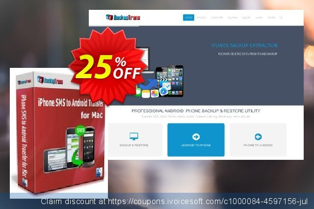 Backuptrans iPhone SMS to Android Transfer for Mac (One-Time Usage) discount 15% OFF, 2020 Halloween sales