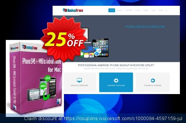 Backuptrans iPhone SMS + MMS to Android Transfer for Mac (One-Time Usage) discount 15% OFF, 2020 Halloween discount