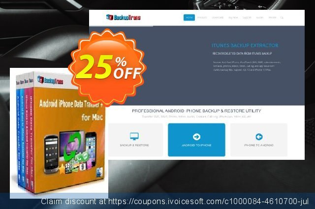 Backuptrans Android iPhone Data Transfer + for Mac (Business Edition) discount 15% OFF, 2020 Halloween offering sales