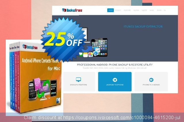 Backuptrans Android iPhone Contacts Transfer + for Mac (Family Edition) discount 15% OFF, 2020 Halloween offering sales