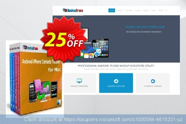 Backuptrans Android iPhone Contacts Transfer + for Mac (Business Edition) discount 15% OFF, 2020 Halloween offering sales