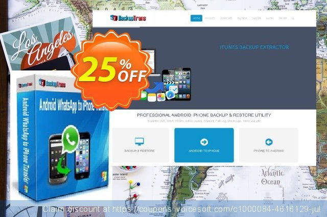 Backuptrans Android WhatsApp to iPhone Transfer discount 15% OFF, 2021 Mother's Day offering deals. Backuptrans Android WhatsApp to iPhone Transfer (Personal Edition) excellent discount code 2021