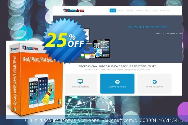 Backuptrans iPod/iPhone/iPad Space Free Up discount 10% OFF, 2020 Back to School promo offering discount