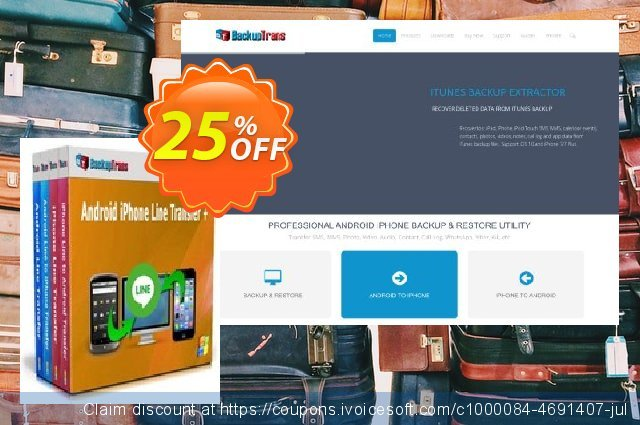 Backuptrans Android iPhone Line Transfer plus discount 22% OFF, 2020 Back to School deals offering sales