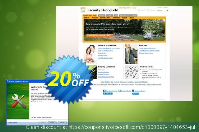 Get 20% OFF Printer Spooler Fix Wizard plus Stronghold AntiMalware offering deals