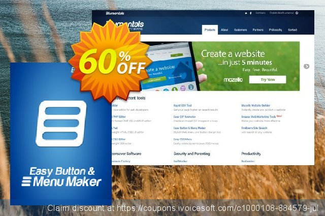 Easy Button & Menu Maker 5 Pro discount 20% OFF, 2020 July 4th promotions