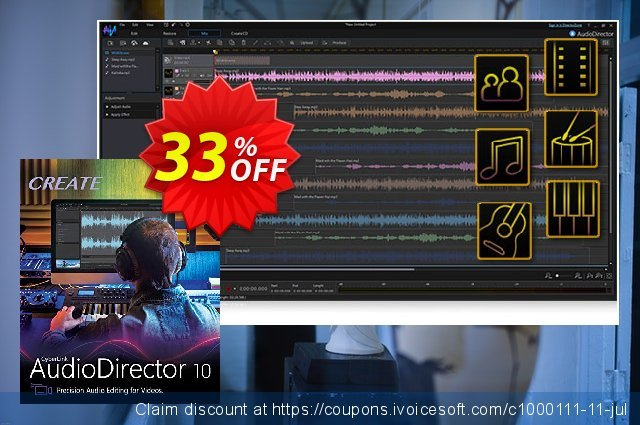 AudioDirector 10 Ultra discount 33% OFF, 2020 Back to School offer deals