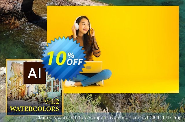 Watercolors Vol. 2 AI Style Pack discount 10% OFF, 2021 Flag Day offering sales. Watercolors Vol. 2 AI Style Pack Deal