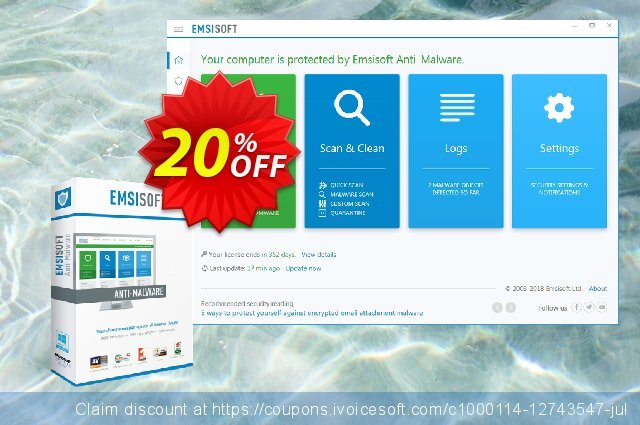 Emsisoft Anti-Malware Home discount 10% OFF, 2020 January offering sales