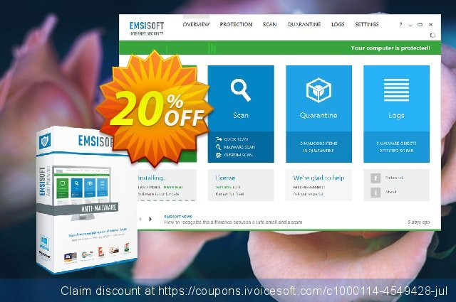 Emsisoft Anti-Malware Home discount 10% OFF, 2019 University Student offer offering sales