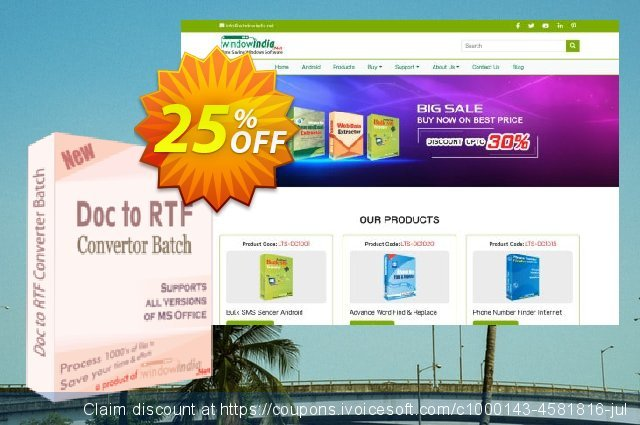 WindowIndia Doc to RTF Converter Batch discount 25% OFF, 2021 National Savings Day offering discount. Christmas OFF