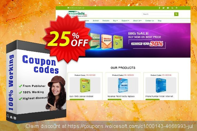 WindowIndia Bundle Number Extractor (Internet + Outlook) discount 25% OFF, 2020 Back to School promotion promo