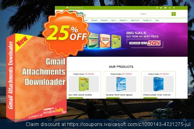 WindowIndia Gmail Attachments Downloader discount 25% OFF, 2020 April Fools Day offering sales