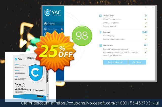 YAC Anti-Malware Premium 6 discount 25% OFF, 2020 Father's Day offering sales