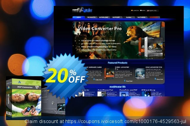 mediAvatar 3GP Converter discount 20% OFF, 2020 Labour Day offering sales