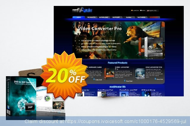 mediAvatar DVD to 3GP Converter discount 20% OFF, 2020 New Year promotions