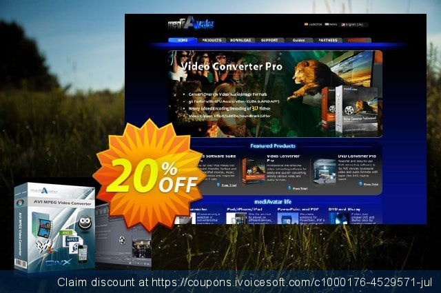 mediAvatar AVI MPEG Video Converter discount 20% OFF, 2020 Fourth of July promo sales