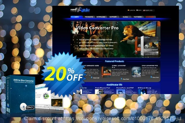 mediAvatar DVD to DivX Converter discount 20% OFF, 2020 Spring offering sales