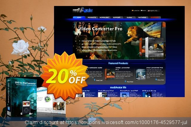 mediAvatar DVD to iPod Converter discount 20% OFF, 2019 Thanksgiving Day discounts