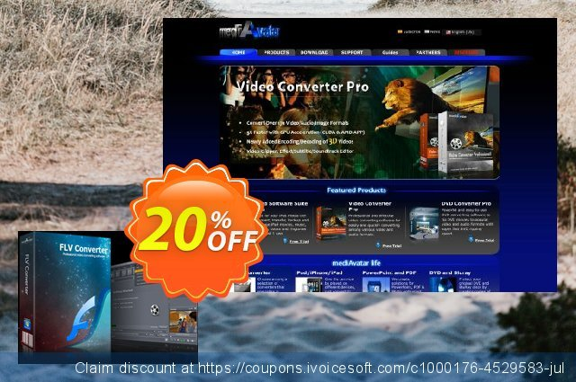 mediAvatar FLV Converter discount 20% OFF, 2020 Christmas offering sales