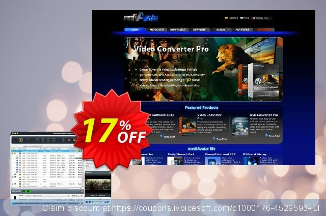 mediAvatar Video Converter Pro for Mac discount 17% OFF, 2019 Summer offering sales