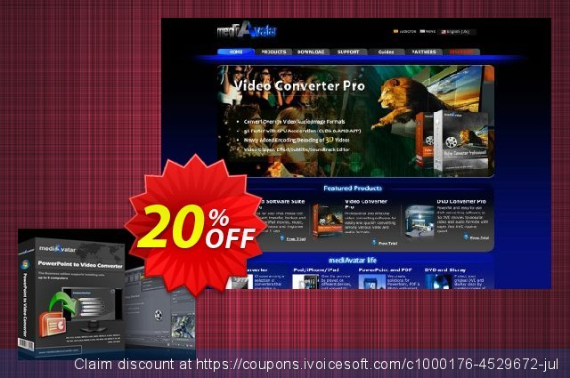 mediAvatar PowerPoint to Video Converter Personal discount 20% OFF, 2020 Working Day offering sales