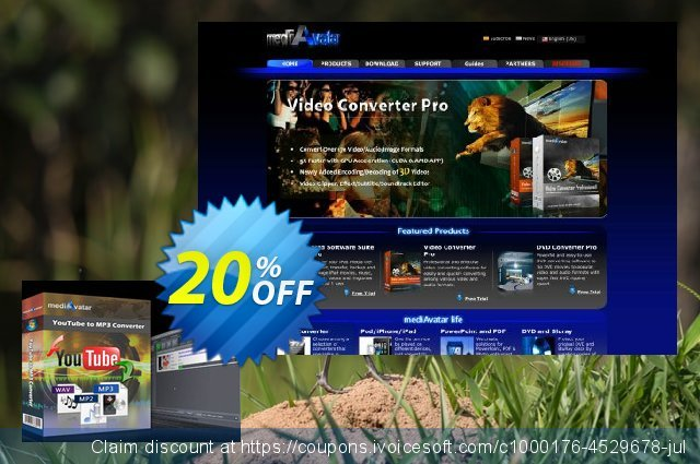 mediAvatar YouTube to MP3 Converter discount 20% OFF, 2019 University Student deals offer