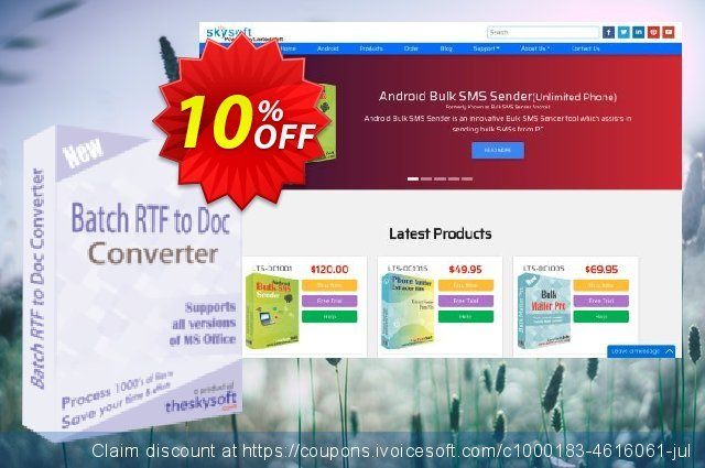 TheSkySoft Batch RTF to Doc Converter discount 10% OFF, 2020 New Year offering sales