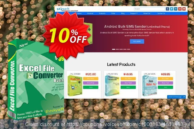 TheSkySoft Excel File Converter Batch discount 10% OFF, 2020 Summer sales