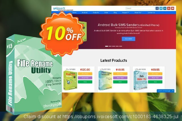 TheSkySoft File Rename Utility discount 10% OFF, 2021 Labour Day offering sales. 10%Discount