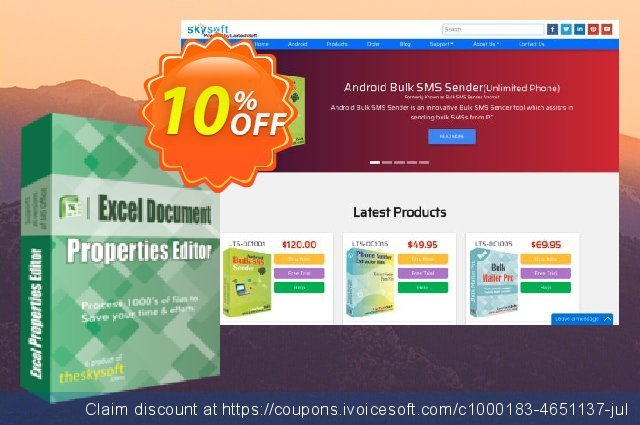 TheSkySoft Excel Document Properties Editor 气势磅礴的 产品销售 软件截图
