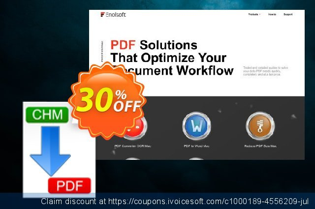 Enolsoft CHM to PDF for Mac discount 30% OFF, 2020 July 4th offering sales
