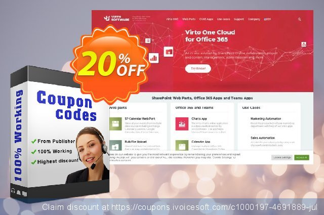 Virto Backup & Recovery for SharePoint Online annual subscription discount 10% OFF, 2019 July 4th sales
