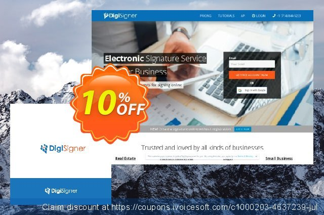DigiSigner Annual Subscription discount 10% OFF, 2020 July 4th promo
