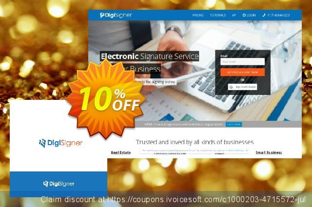 DigiSigner API Subscription (1000 documents/month) discount 10% OFF, 2019 Black Friday promo