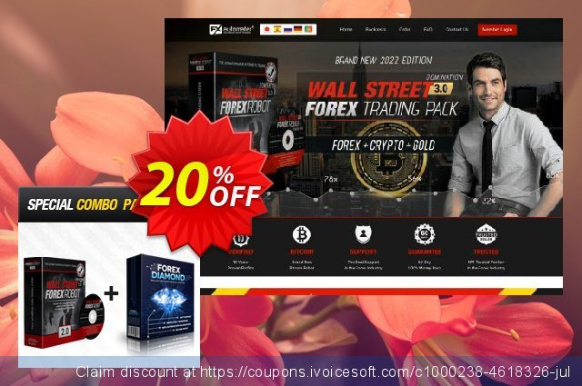 WallStreet Forex Robot 2.0 Evolution + Forex Diamond EA discount 20% OFF, 2020 Halloween offering sales