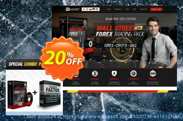 WallStreet Forex Robot 2.0 Evolution + Volatility Factor EA discount 20% OFF, 2020 Exclusive Teacher discount offering sales
