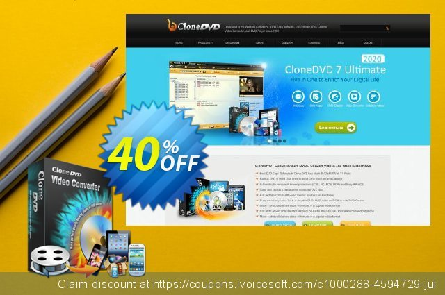 CloneDVD Video Converter 1 Year/1 PC discount 30% OFF, 2020 University Student offer offering discount